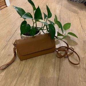 brown leather clutch purse